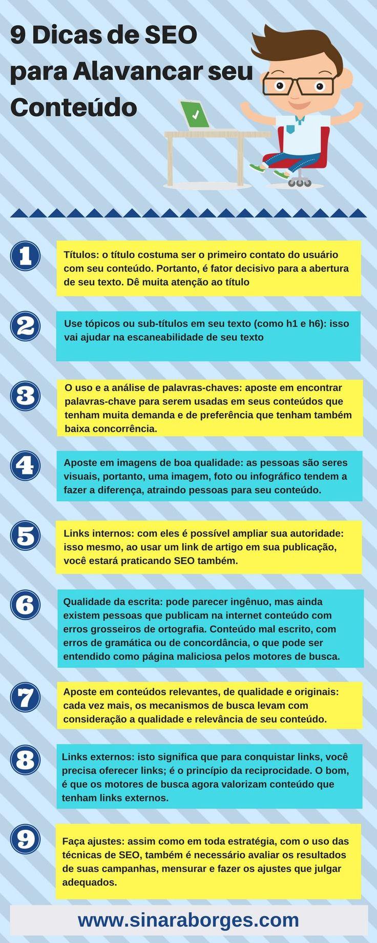 9 dicas de seo para alavancar seu conteúdo e vender muito mais. www.sinaraborges.com Clique aqui http://www.estrategiadigital.pt/e-book-ferramentas-de-redes-sociais/ e faça agora mesmo Download do nosso E-Book Gratuito sobre FERRAMENTAS DE REDES SOCIAIS