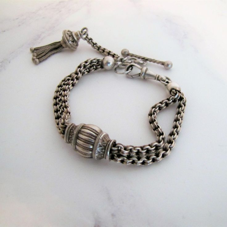 Latest addition to my #etsy shop: Antique Victorian Sterling Silver Albertina Watch Chain Bracelet. Etruscan Revival. Double Belcher, Fox Tail Tassel, Barley Twist T-Bar http://etsy.me/2DTCzly #jewellery #bracelet #silver #victorian #antiquebracelet #englishsilver
