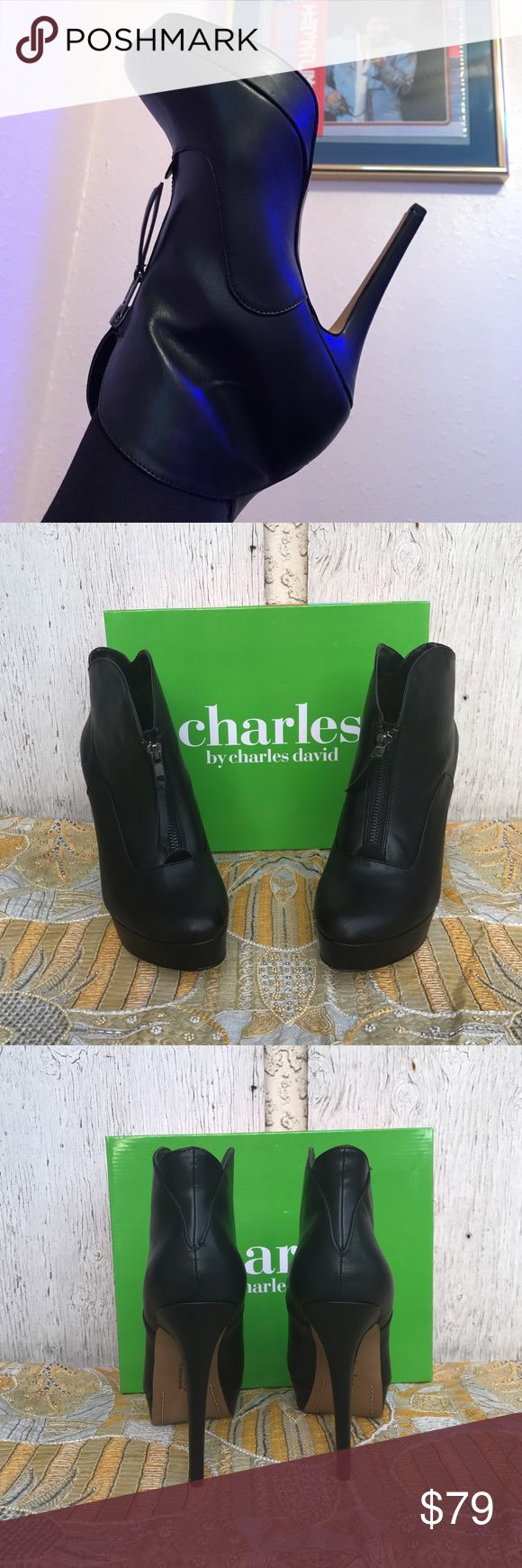 Black leather platform stiletto booty Zips up the middle front, leather , Shoemaker is Charles David, size 9 Charles David Shoes Ankle Boots & Booties