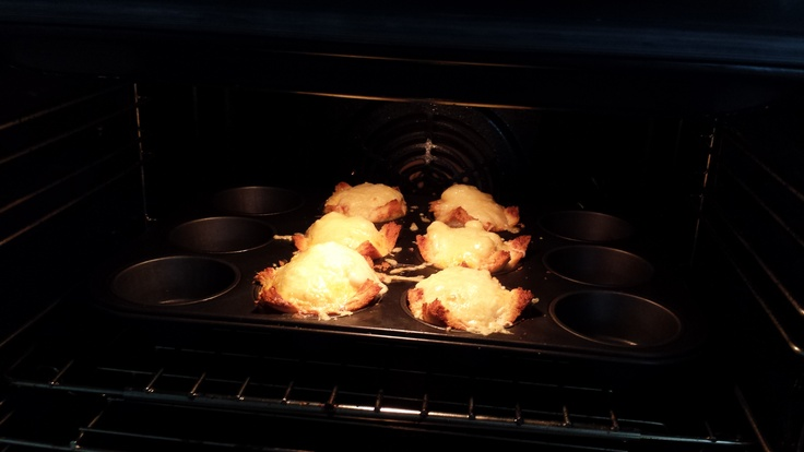 Baked and photographed by MSN  Croque Madame Muffins are sizzling away in the oven...
