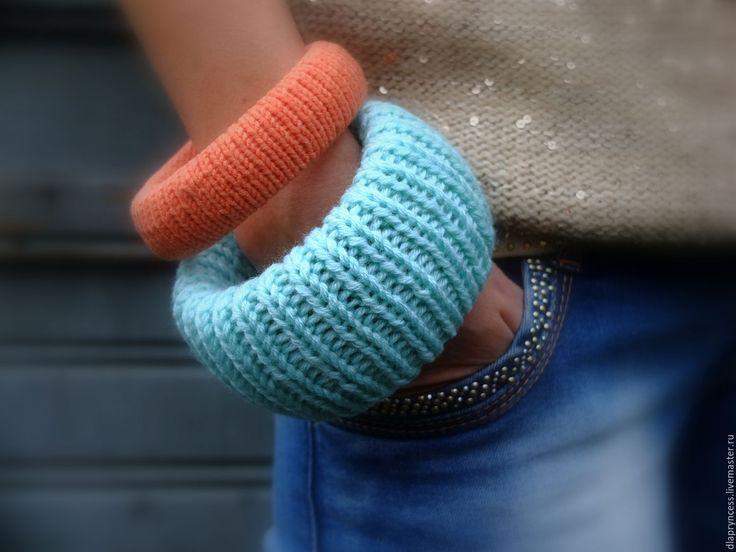 """Купить Сет вязаных браслетов """"Мятный мандарин"""" вязаные украшения, мятный,оран - текстильный браслет"""