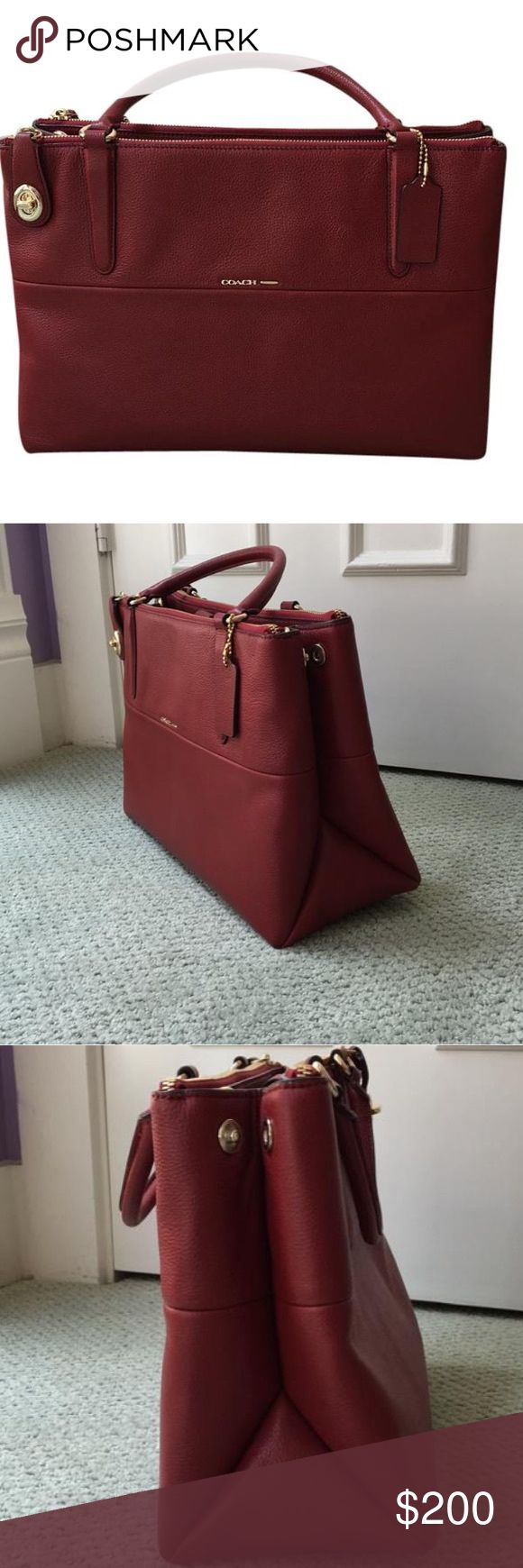 Red Coach Borough Bag Only used a handful of times, mostly to carry my MacBook Air to work and back. Only visible is tiny bit is use on bottom as seen in last pic. It's the Coach bag most seen on celebrities like Jessica Alba and Sarah Jessica Parker. It's a slightly darker red - not the cherry. Coach Bags Satchels