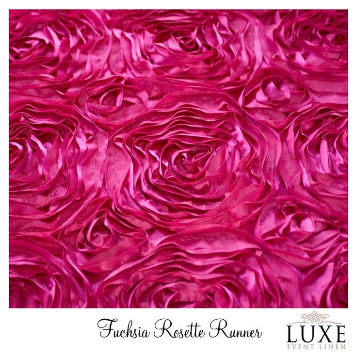 #www.luxeeventlinen.com Fuchsia Rosette Table Runner Linen