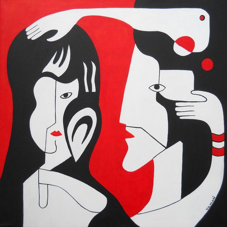 Embracement (in red), acrylic on canvas, 50x50 cm, 2015,  from artist Peter Vamosi.