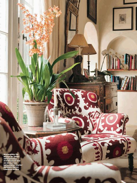 these chairs are gorgeous in this big print ~ Kathryn Ireland. Maybe put the waiting are in front of the window. Dresser for music storage.