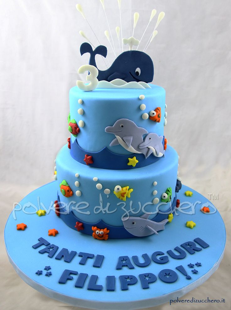 Torta decorata tema mare con balena, delfini, squalo e pesci in pasta di zucchero  Cake decorated  theme sea with whale, dolphin, shark and fish sugar paste