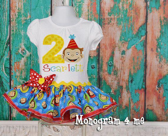 Girls Curious George Birthday Dress 1st birthday by monogram4me