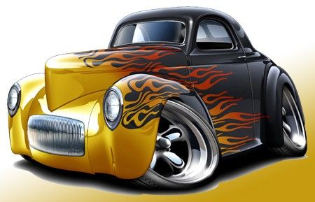 Details About 1941 Willys Hot Rod Muscle Car toon Art Print NEW Clip