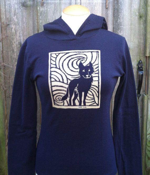 Midnight Wolf Long Sleeve Navy Women's Hoodie by silkoak