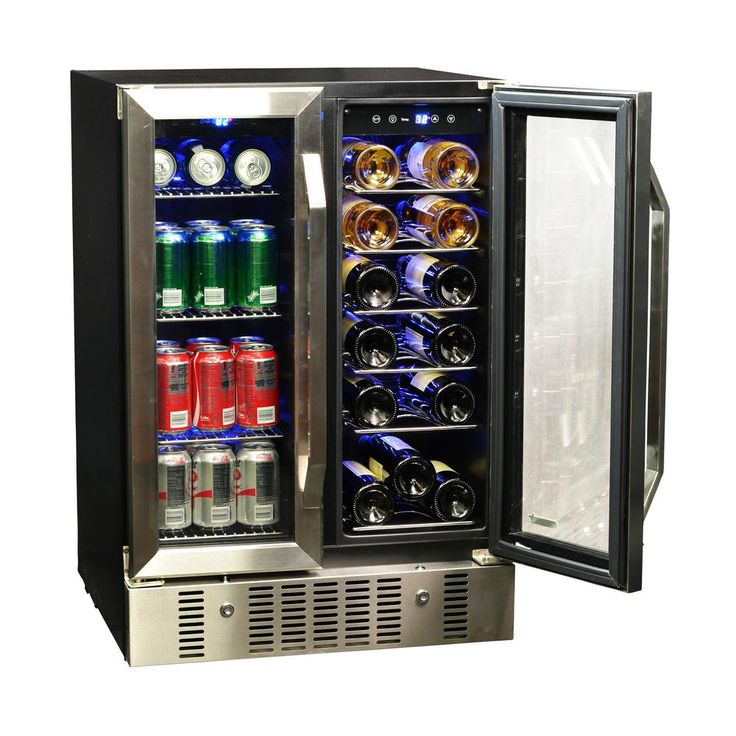 NewAir 23.5 in. 18-Bottle and 60 Can Dual Zone Built-In Compressor Wine and Beverage Cooler