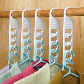 Great space saving hangers for small closet - need these!