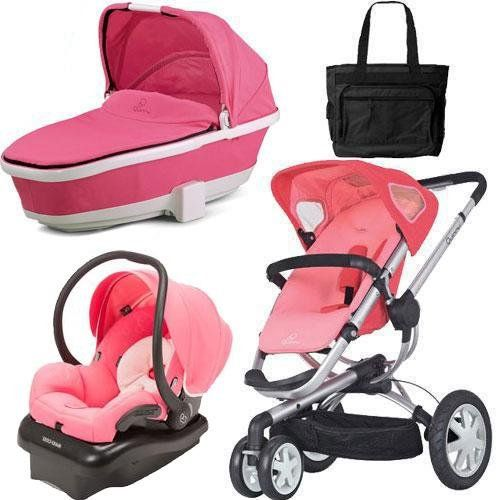 Quinny CV155BFXKT3 Buzz 3 Travel System and Tukk Bassinet in Pink with Diaper Bag - http://babystrollers.everythingreviews.net/4203/quinny-cv155bfxkt3-buzz-3-travel-system-and-tukk-bassinet-in-pink-with-diaper-bag.html