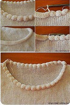 Интересное решение обработки горловины пуловера | Подружки