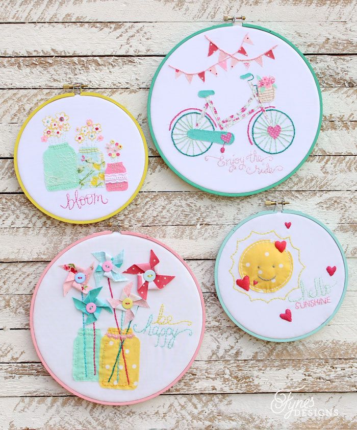 Four hoop art pieces inspired by summer fun. Design this free hand embroidery hoop art collection. Crewel Embroidery stitch chart included