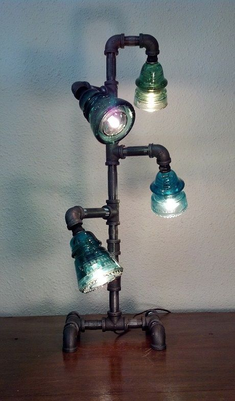 VERY cool lamp! - Steampunk Vintage Lamp, Vintage Blue and Green Phone Insulators, Industrial Pipe - #lamp #steampunklamp #vintage