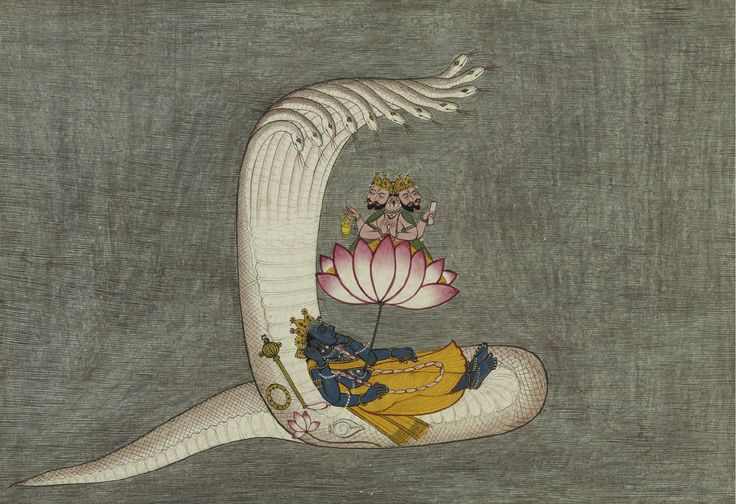 Vishnu, pictured above in his Anantasyayin form, lying in yoganidra, a deeply meditative state of consciousness induced by the Great Goddess, on his serpent Sheshanaga in the cosmic ocean, with Brahma issuing from his navel creating the universe.  circa 1770 India, Mandi