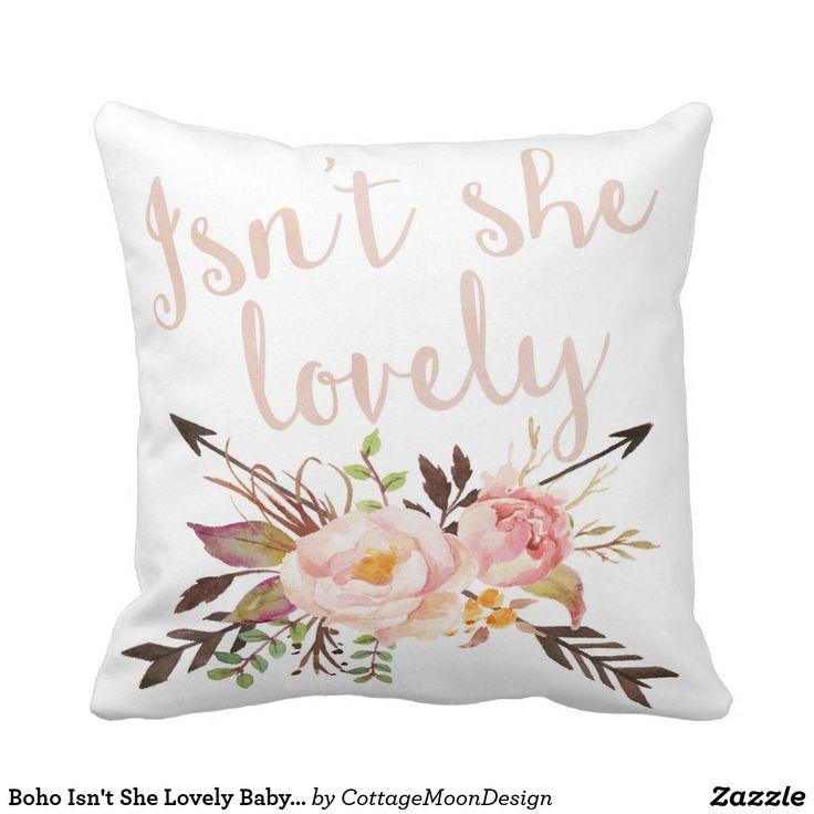 Boho Isn't She Lovely Baby Girl Nursery Pillow