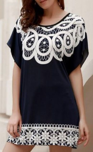 Chic Scoop Neck Short Batwing Sleeve Floral Print Women's Kaftan Style Dress #Black_and_White #Kaftan #Style #Summer #Dress #Fashion