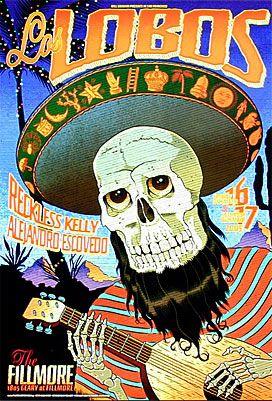 Los Lobos New Fillmore Poster F744  Reckless Kelly   Alejandro Escovedo   12/16/2005   Artist: Chuck Sperry   13 x 19 inches