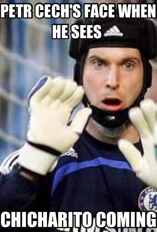 Petr Cech can't stop Chicharito