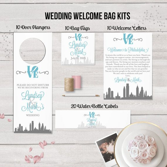 Philadelphia Skyline Wedding Welcome Bag Kits Wedding Hotel Bag by designedbyme on Etsy
