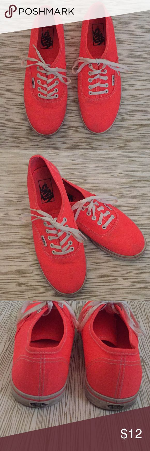 Women's Neon Vans Size 8 Nice used condition neon coral vans. This pair of shoes just needs a little TLC, they still have plenty of wear left in them.   Please see all photos to ensure you will be satisfied before purchasing!  Mens size 6.5  There are a few scuffs on the canvas and rubber sole  Smoke free home   Make an offer 💖 Vans Shoes Sneakers