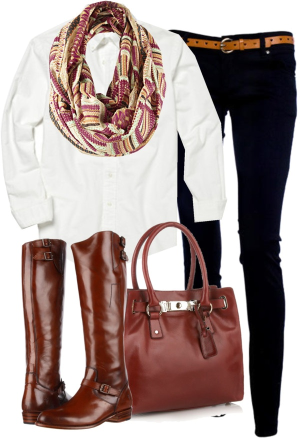 """OOTD"" by classically-preppy on Polyvore; Love the scarf omg"