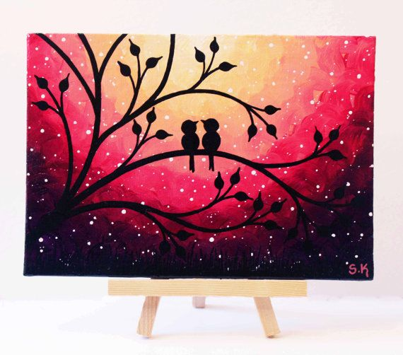 Mini Canvas Art Nightscape painting Love birds Art Puple Sunset ainting Birds on tree Art, Love birds painting by SKArtzGallerE