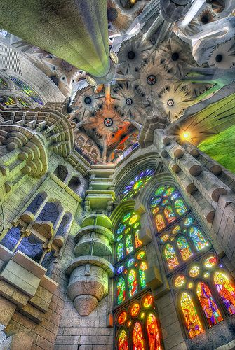 Inside Gaudi's 'La Sagrada Familia' in Barcelona. Thought Pugin's gem of a church in Cheadle would be top of my church list, but having just been taken to Barcelona for my birthday celebration, this has to top the list by far!