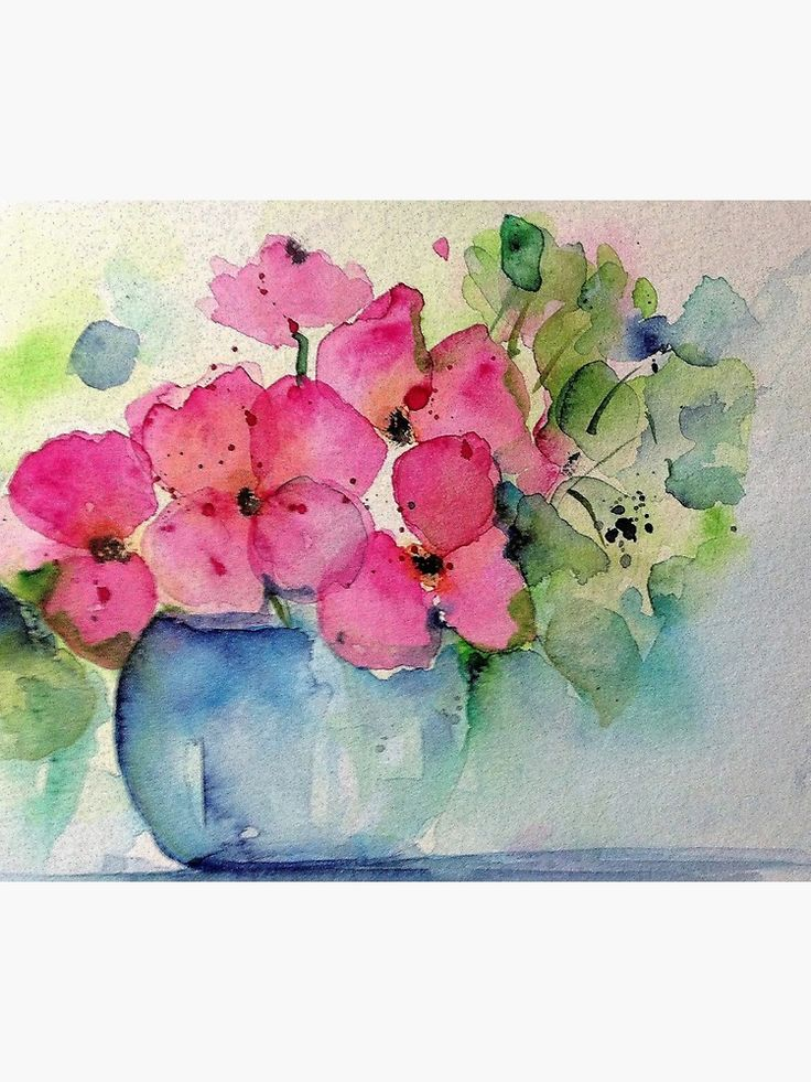 rosa Blumen in der Vase | Fotodruck
