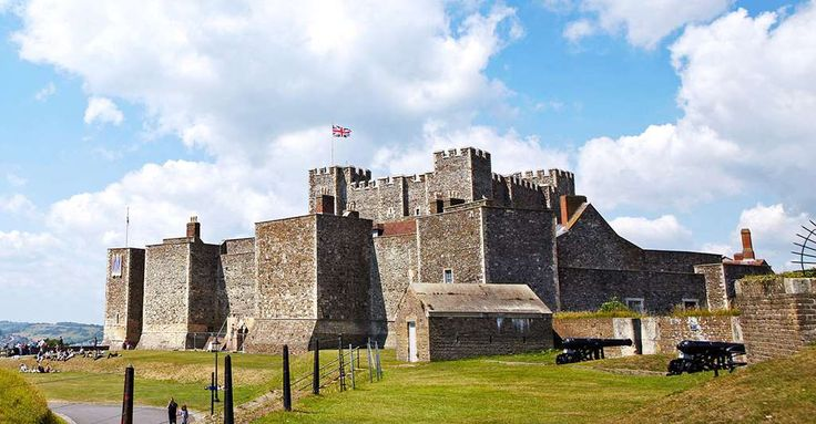 Broad view of Dover Castle in bright sunlight with visitors