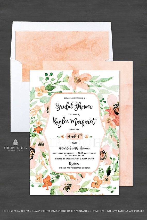 simple diy bridal shower invitations%0A Floral Bridal Shower Invitation Custom Bridal Shower Invitation Watercolor  Flowers Spring Bridal Shower Invitations DIY or Print  Kaylee