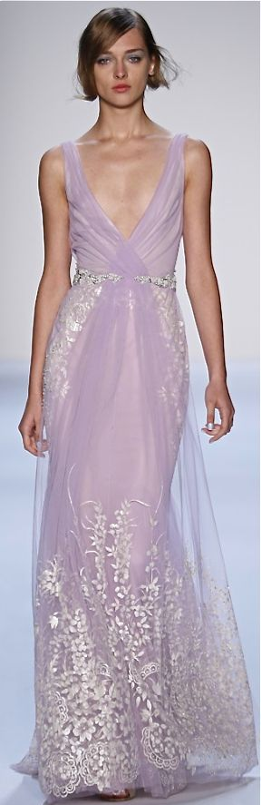 Badgley Mischka RTW Spring 2014 what the heck this is so gorgeous lavender omg omfg