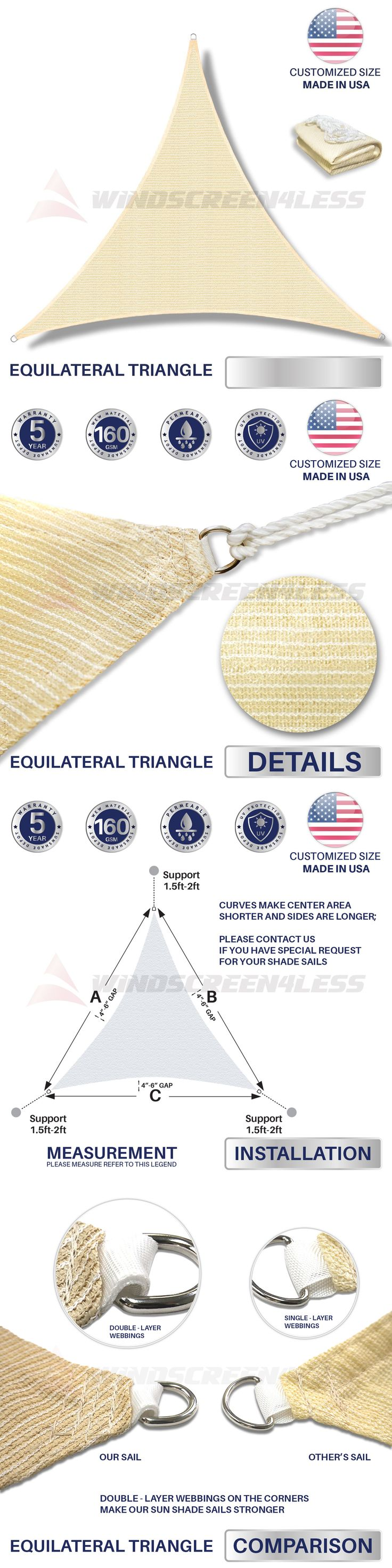 Shade Sails 180997: Custom Equilateral Triangle Beige Sun Shade Sail Canopy Awning Patio Pool Cover -> BUY IT NOW ONLY: $206.79 on eBay!
