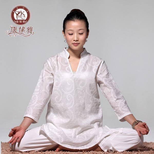 FREE SHIPPING, New Autumn Winter White Cotton Embroidery Three Quarter Sleeve Yoga Suit Upasaka Meditation Yoga Clothing Y305