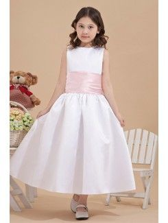 Satin Jewel Ankle-Length Ball Gown Flower Girl Dress with Bow