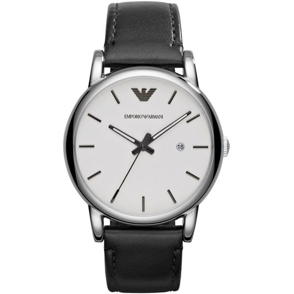 Emporio Armani Men's Black Leather Strap Watch 41mm AR1694 ($175) ❤ liked on Polyvore featuring men's fashion, men's jewelry, men's watches, no color, mens leather watches, emporio armani mens watches, mens watches and mens watches jewelry