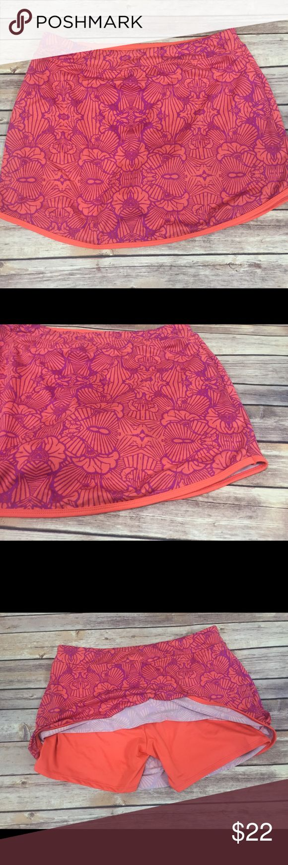 """Lola by AFG Athletic Skirt Skort Pink Size Large Lola by AFG. Pink floral pattern. Built in activewear shorts. Women's size large. Waist 15.5"""" length 14"""" Gently used. Lola Skirts Mini"""