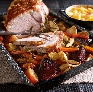 Ofengemüse zu Krustenbraten und Gratinkartoffeln