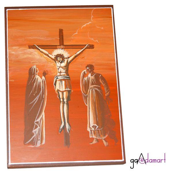 Icoana unicat pictata pe lemn, in tehnica grisai, reprezentand Rastignirea Domnului