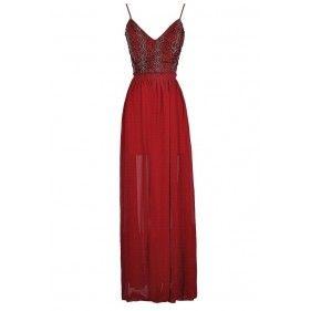 Red Maxi Dress, Burgundy Maxi Dress, Red Prom Dress, Burgundy Prom Dress, Red Open Back Maxi Dress, Burgundy Open Back Maxi Dress, Cute Holiday Dress, Cute Christmas Dress, Cute Prom Dress, Red Beaded Formal Dress, Burgundy Beaded Formal Dress