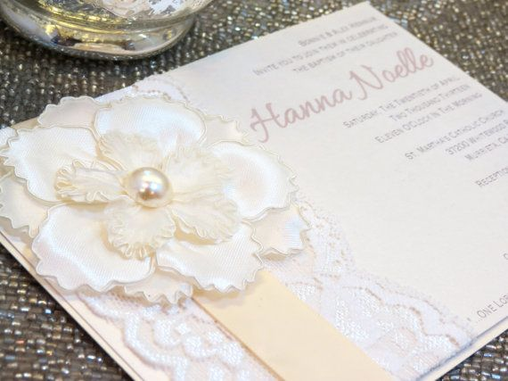 HANNA Lace Baptism/Christening Invitation by peachykeenevents