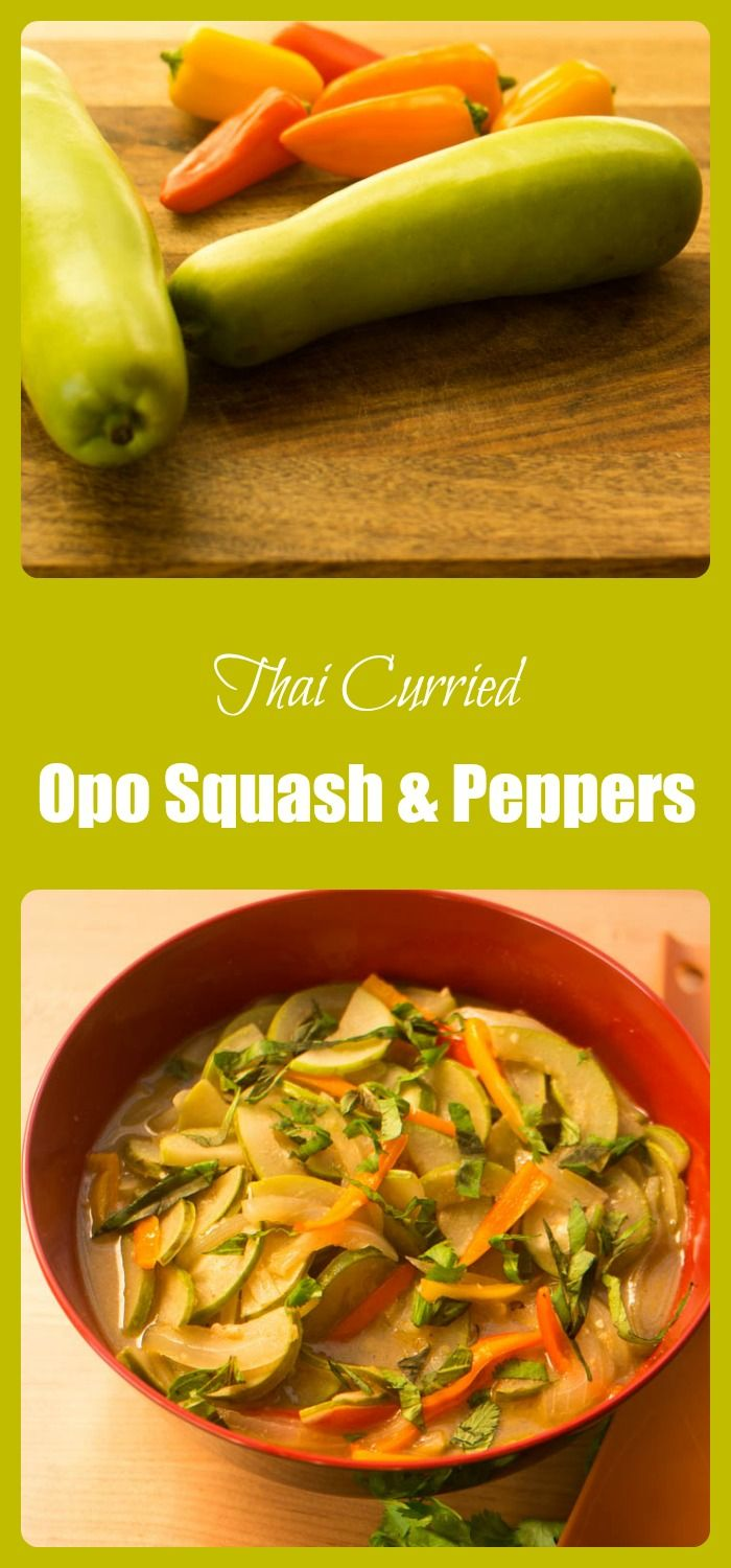 Thai Curried Opo Squash and Peppers - coconut milk and Thai curry paste flavor this healthy stir-fried dish!