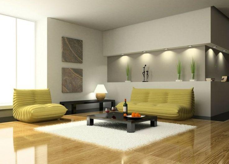 salon contemporain avec niche dans le mur avec spots et lampe à poser