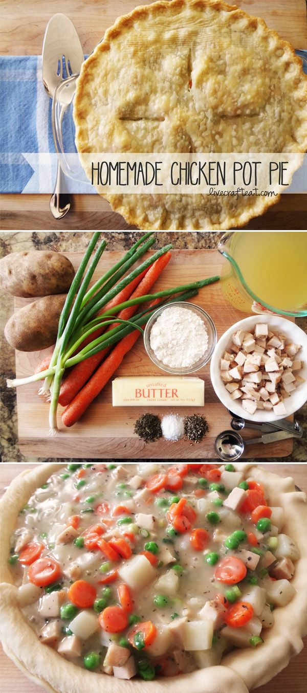 homemade chicken pot pie - super easy and delicious recipe! i remember eating the store-bought ones as a kid - i liked them then, but i LOVE this homemade version 1000x better!! it's the perfect comfort food. | www.livecrafteat.com