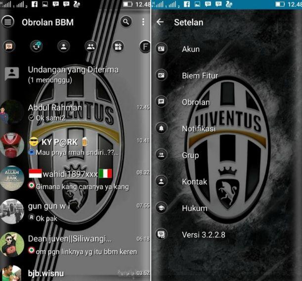 Download BBM Mod Juventus Theme v3.2.2.8 Apk Mantap