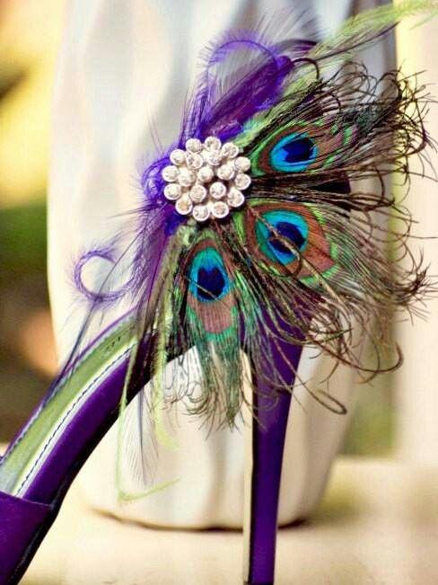 Shoe Clips Peacock Fan Rhinestone / Pearls Center, Couture Bride Bridal…