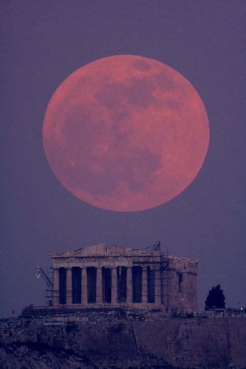 Parthenon - 432 BC - temple of AthenaParthenon, Athens Greece, Favorite Places, Super Moon, Beautiful, Fullmoon, Full Moon, Travel, Supermoon