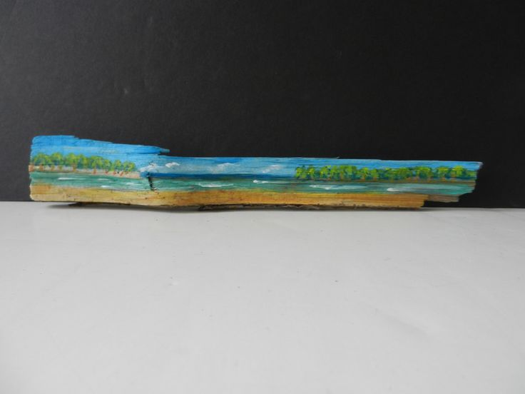 BEACH ISLANDS> Miniature Palm Beach islands painting on coconut palm driftwood, colorful beach art palm trees. Unique cottage chic wall or desktop decor by PTMileHighRecovery on Etsy