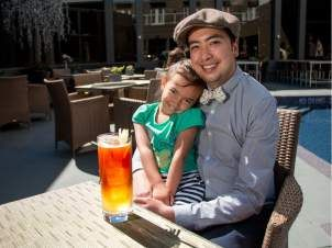 """Bartender Franz Swinton, with daughter Lillian, 4, mixed up this """"Dad Cocktail"""" for Father's Day at the Raw Bar at Hotel Arts. in Calgary, Ab., on Monday May 30, 2016."""